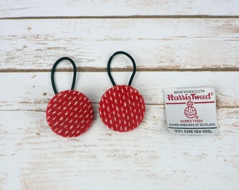 Red Harris Tweed Button Hair Bobbles