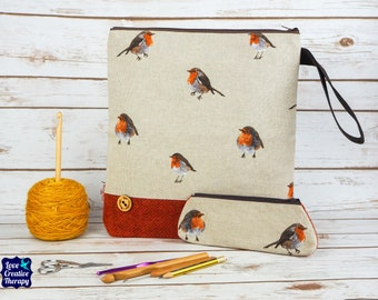Robin Craft bag with Harris Tweed base & pencil case gift set