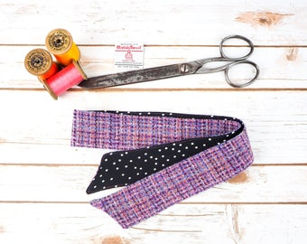 Harris Tweed Pink Pattern Head Band Scarf - Double Sided