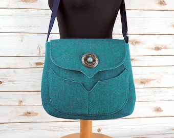 Myrtle - Teal Herringbone Harris Tweed Cross Body Bag - Handmade Handbag - Messenger Bag - Casual Bags - Gift for her