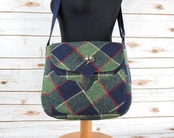 Myrtle - Blue & Green Tartan Harris Tweed Cross Body Bag - Handmade Handbag - Messenger Bag - Casual Bags - Gift for her -Vintage Brooch