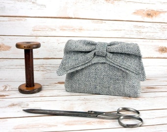 Audrey - Grey Herringbone Harris Tweed Clutch Bag