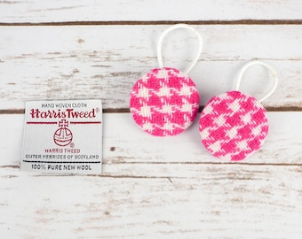 Pink Houndstooth Harris Tweed Button Hair Bobbles