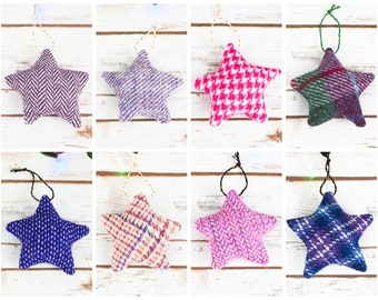 Christmas Stars Decoration - Made from Harris Tweed or Donegal Tweed - Choose from lots of pink and purple tweeds!