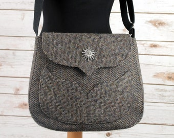 Myrtle - Dark Grey Herringbone Harris Tweed Cross Body Bag - Handmade Handbag - Messenger Bag - Casual Bags - Gift for her - Vintage Brooch
