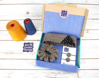Black & Cream Herringbone Donegal Tweed Hair Accessories Gift Box - Head Band Scarf, Scrunchie and Bobbles