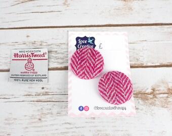 Pink Herringbone Harris Tweed Covered Buttons - 37mm