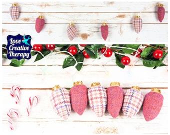 Pink Windowpane Check and plain pink Harris Tweed Fairy 'Lights' Garland