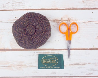 Dark Brown Herringbone Donegal Tweed Pin Cushion