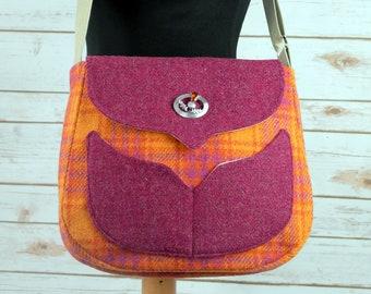 Myrtle - Orange & Pink Tartan Harris Tweed Cross Body Bag - Handmade Handbag - Messenger Bag - Casual Bags - Gift for her -Vintage Brooch