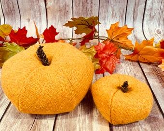 Plush Harris Tweed Pumpkins - Yellow twill