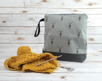 Beautiful Stag Crafting Pouch with Harris Tweed
