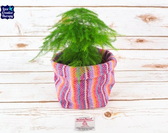 Medium Fabric Pot in Purple & Pink Stripe Harris Tweed