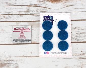 Blue Herringbone Harris Tweed Covered Buttons - 23mm