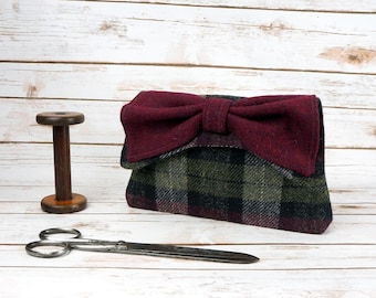 Katharine - Maroon Tartan Harris Tweed Clutch Bag - evening purse - bow - formal - handmade