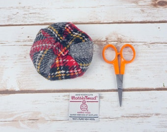 Grey Tartan Harris Tweed Pin Cushion