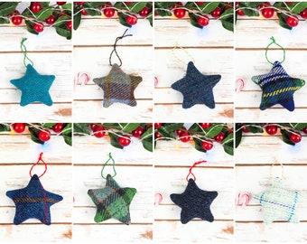 Harris/ Donegal Tweed Stars Decoration - Choose from lots of tweeds!