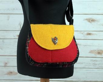 Bella - Black, Red & Yellow tartan Harris Tweed Cross Body Bag - Handmade Handbag - Shoulder Bag - Casual Bags - Gift for her