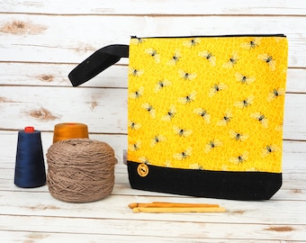 Honey Bees Print Project bag with Harris Tweed base