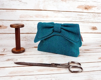 Audrey - Teal/ Jade Herringbone Harris Tweed Clutch Bag - evening purse - bow - formal - handmade