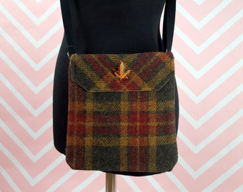 Verity - Green, Red & Gold Tartan Harris Tweed cross body handbag - Bum bag - Fanny Pack - Dog Walking Bag