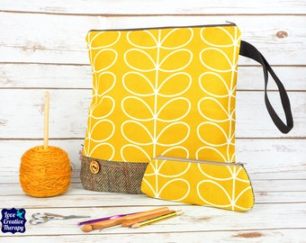 Yellow Orla Kiely Craft bag with Harris Tweed base & pencil case gift set