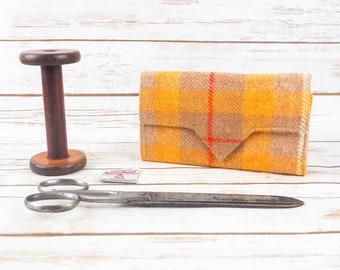 Yellow & Beige Tartan Harris Tweed Wallet with Coin Section