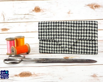 Black and White Houndstooth Harris Tweed Wallet with Coin Section