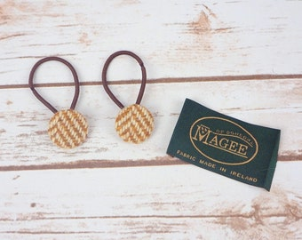Caramel Herringbone Donegal Tweed Button Hair Bobbles