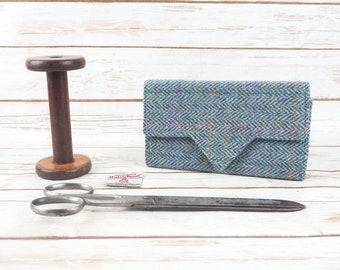 Jade Blue Herringbone Harris Tweed Ladies Wallet with Coin Section