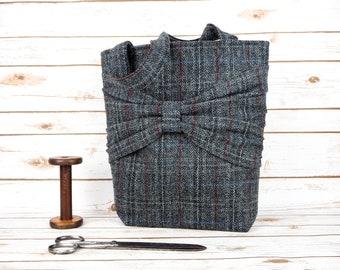 Esme - Grey Overcheck Large Harris Tweed Tote Bag