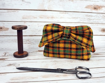 Audrey - Green and Yellow Check Tartan Harris Tweed Clutch Bag