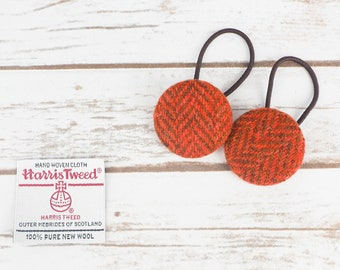 Orange Herringbone Harris Tweed Button Hair Bobbles
