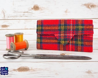 Red Tartan Harris Tweed Wallet with Coin Section
