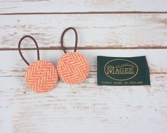 Orange Herringbone Irish Tweed Button Hair Bobbles
