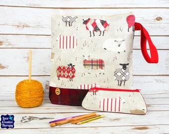 Sheep Craft bag with Harris Tweed base & pencil case gift set
