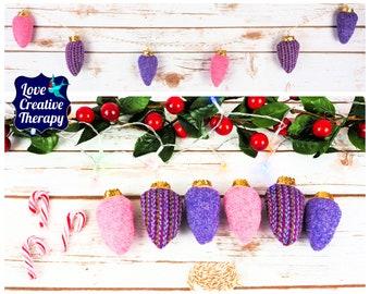 Purple Stripe with plain pink and purple Harris Tweed Fairy 'Lights' Garland