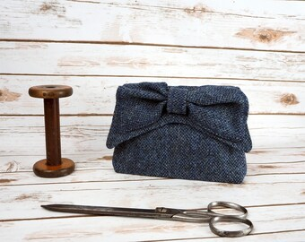Audrey - Navy Barleycorn Harris Tweed Evening Purse