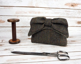 Audrey - Dark Green Herringbone Harris Tweed Evening Purse