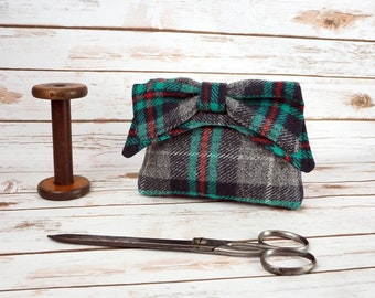 Audrey - Grey Check Tartan Harris Tweed Evening Purse