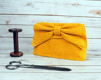 Katharine - Mustard Yellow Twill Harris Tweed Clutch Bag - evening purse - bow - formal - handmade