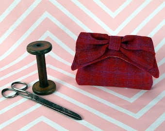 Audrey - Red & Pink Check Harris Tweed Clutch Bag - evening purse - bow - formal - handmade