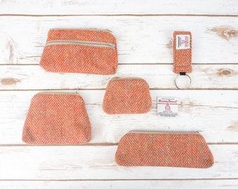 Orange/ Beige Herringbone Harris Tweed Accessories - Coin Purse, Pen/ Glasses Case, Keyring