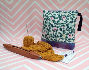 Crafting Pouch with Harris Tweed - Craft Bag - Project - Knitting - Crochet - Sewing - Needlework - Gifts for her - Love Creative Therapy