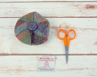 Blue & Green MacLeod Tartan Harris Tweed Pin Cushion
