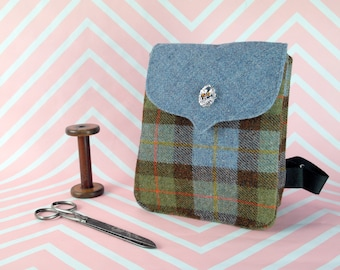 Beulah - MacLeod Tartan Harris Tweed Backpack- Handmade Handbag - Rucksack/ Knapsack - Casual Bags - Gift for her - Vintage Brooch