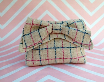 Audrey - Cream Windowpane Harris Tweed Clutch Bag - evening purse - bow - formal - handmade