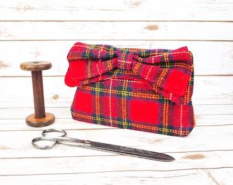 Katharine - Red, Blue, Yellow and White Tartan Harris Tweed Clutch Bag