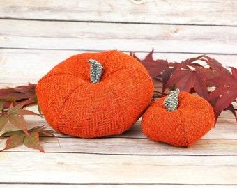 Plush Harris Tweed Pumpkins - Set of two in Orange & Brown Herringbone