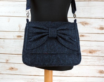 Juliette - Navy Herringbone Harris Tweed Cross Body Bag with bow - Handmade Handbag - Messenger Bag - Casual Bags - Gift for her